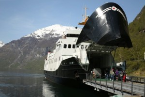 Boarding the car ferry in a campevan in the fjords of Norway