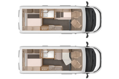 A bed situated latterally takes up very little space but if two of you share it, one of you will have to climb over the other to get out of it during the night!