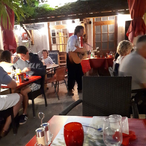 Vezelay has a fun atmosphere and on our last visit we enjoyed  being serenaded whilst dining in Relais de Morvan Restaurant