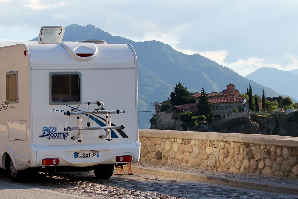 Our motorhome in Meteora, Greece