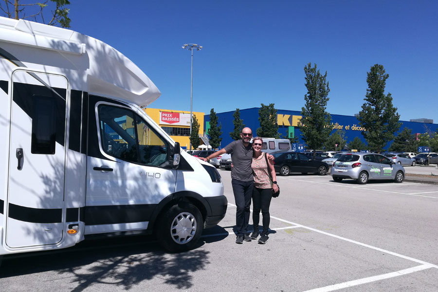 Jo and Jose head to Ikea to equip their brand new Benimar 440 UP motorhome before touring Europe