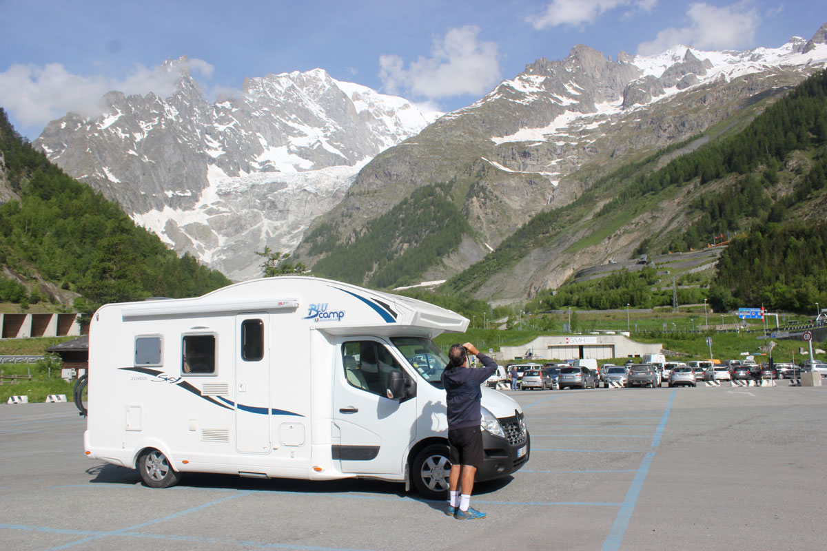 Travelling through the mountains to Italy in a newly purchased Blucamp Sky 20