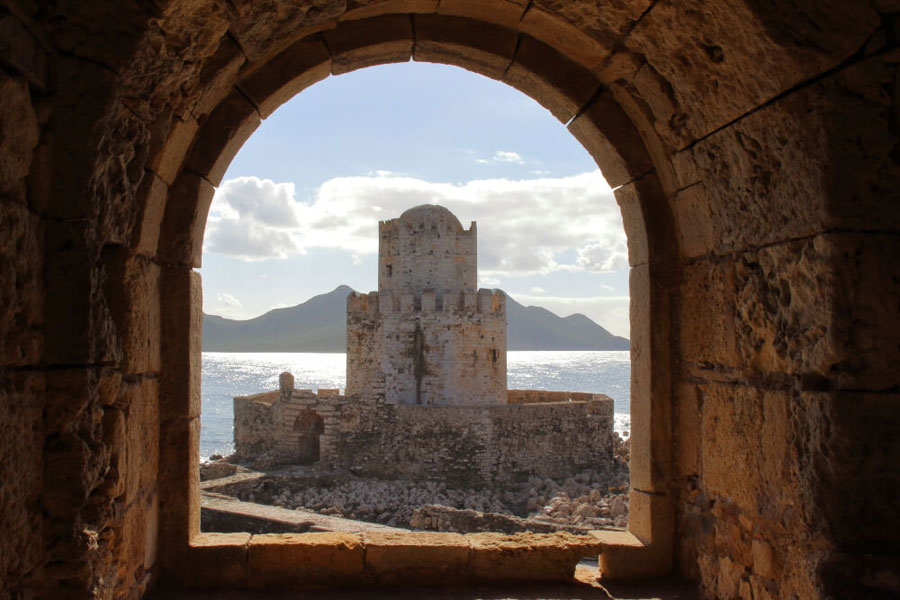The Bourtzi is a small fortress built by the Ottomans at the end of the Methoni Castle.  This view is through one of the castle windows.