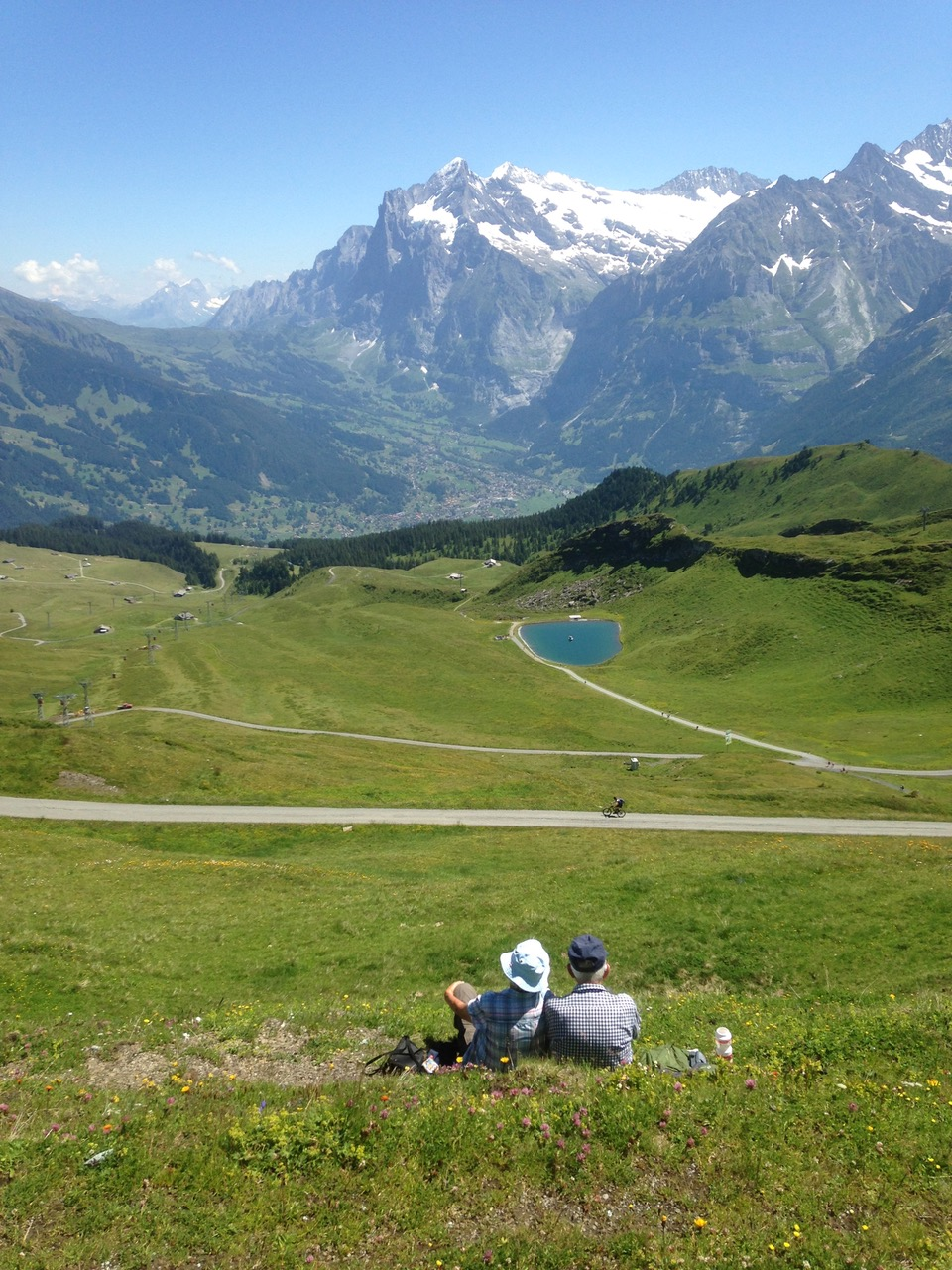 Glorious vistas and places to stop and picnic, from a trail near Wengen. Grindelwald in the distance.