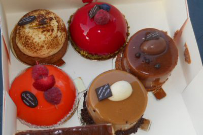 Delicious confections for desert can be purchased from patisseries in most French villages