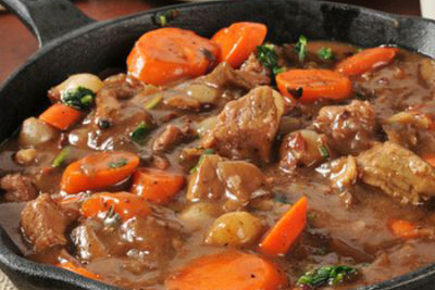 In France you can buy local dishes such as this Boeuf Bourguignon from a Traiteur and reheat it on your motorhome hob