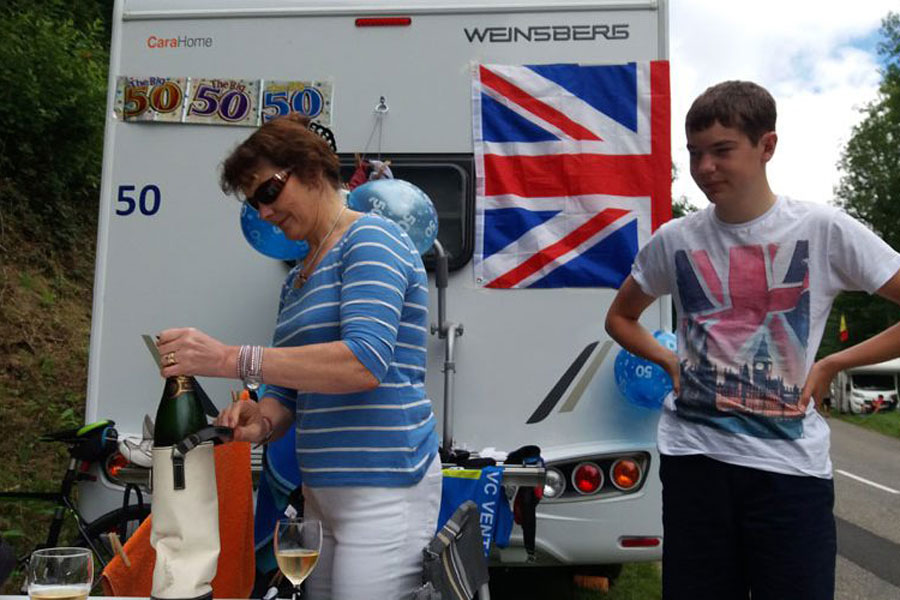 Get in position early at the edge of Le Tour and have all your creature comforts with you in your motorhome