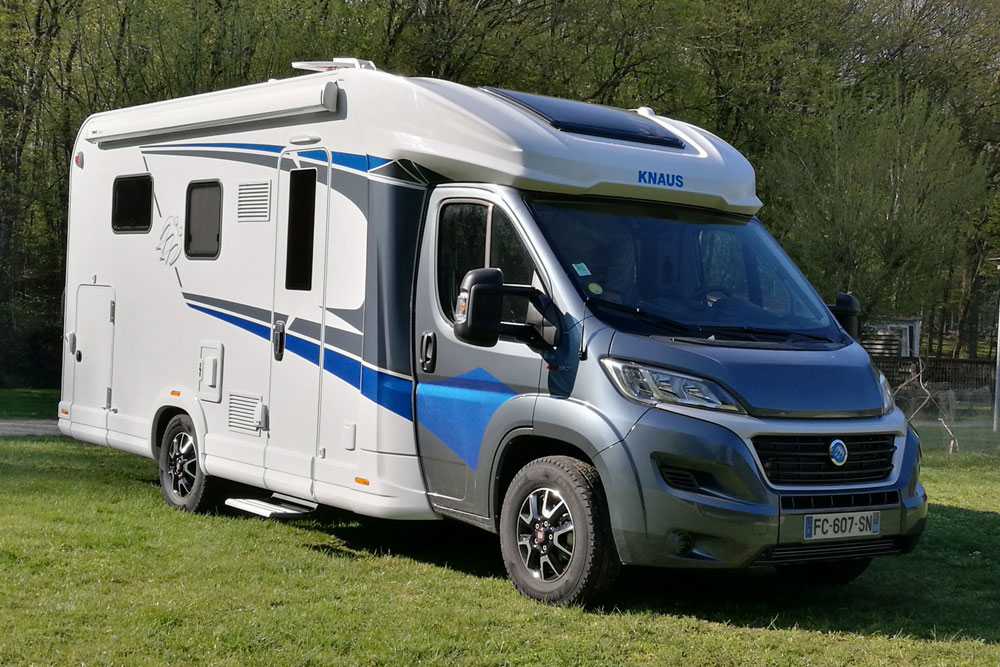 Our current demonstrator motorhome, a 2019 Knaus Live Wave 650MX, loaded up to the gunnels with extra accessories