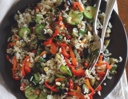 Brown Rice Salad, our favourite summer recipe to accompany a campervan barbecue
