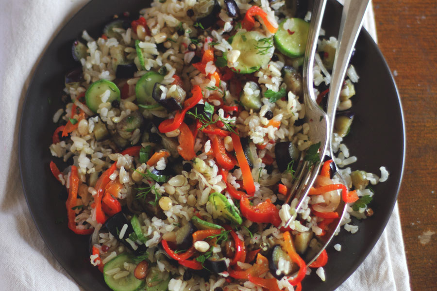 Brown Rice Salad a recipe to compliment your motorhome barbecue