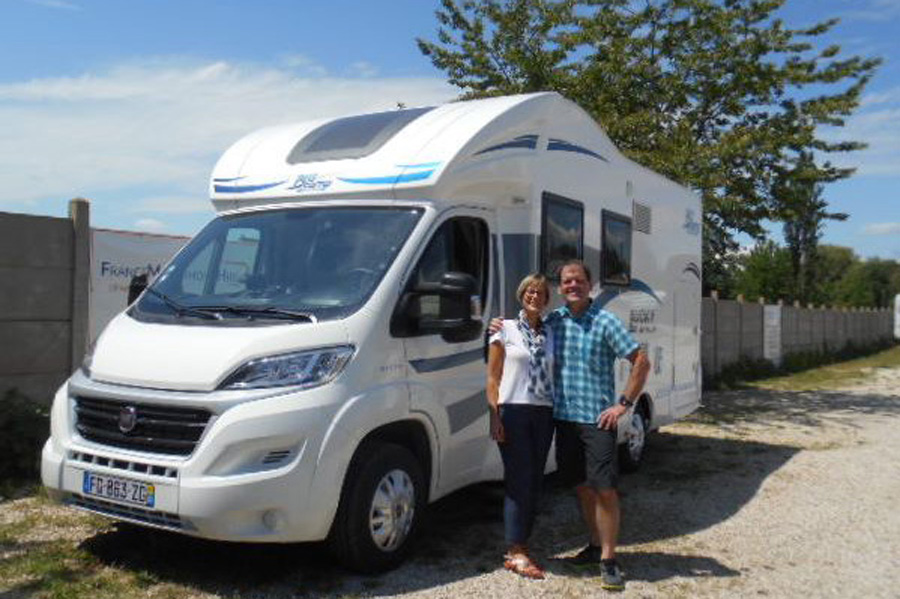 Proud new owners from NZ with their Blucamp Lucky 521 at the start of their European motorhome tour