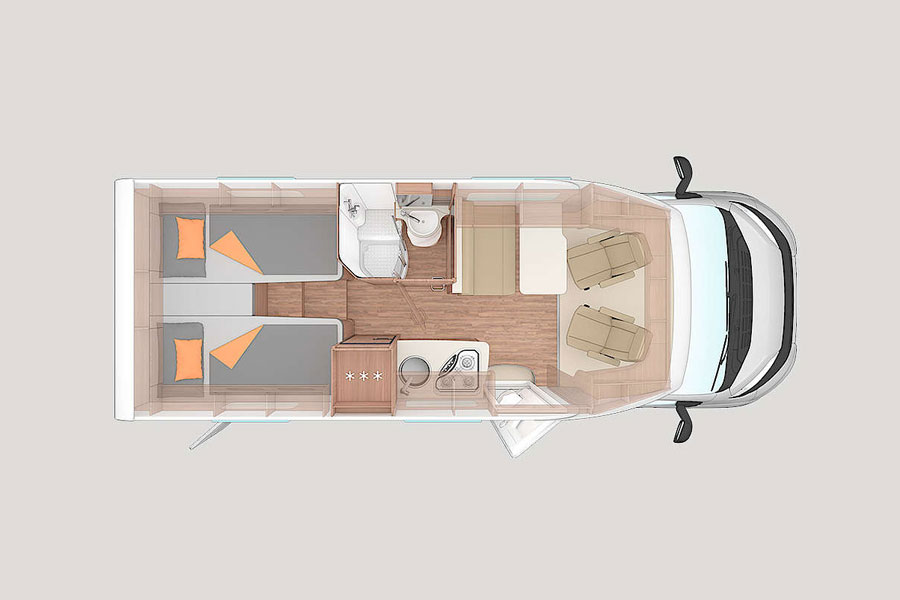 The layout of the CaraCompact 600 MEG is Pepper Edition is well thought through and ideal for an extended European trip