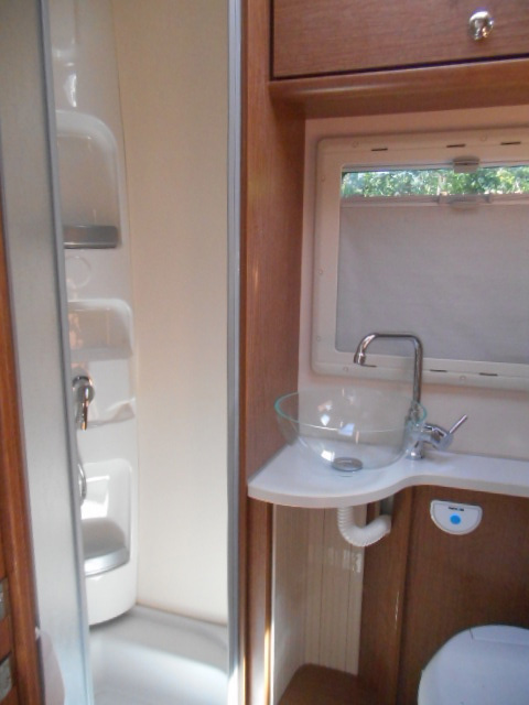 The separate shower cubicle is very convenient for full time motorhome travel