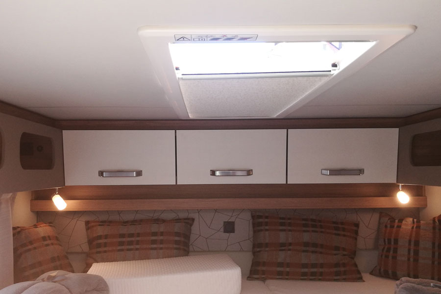 This motorhome has great storage everywhere and the extra skylights add light and air throughout