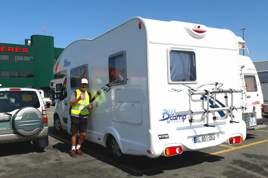 Jan and Dave park up their Blucamp Sky 20 motorhome at the port in Antwerp, ready to ship it to Halifax