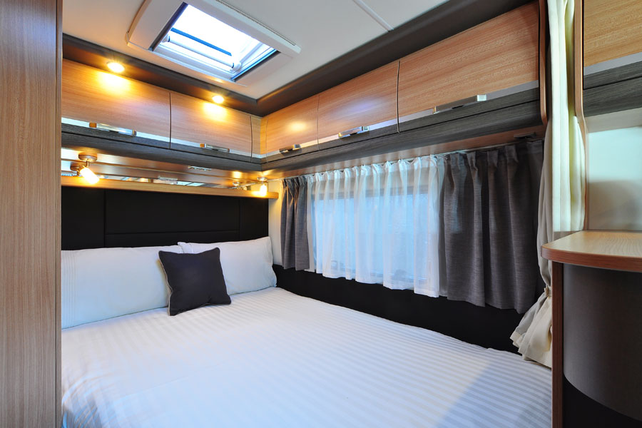 Motorhome bedrooms are pretty comfy these days but they rarely have power sockets so make sure you carry long leads