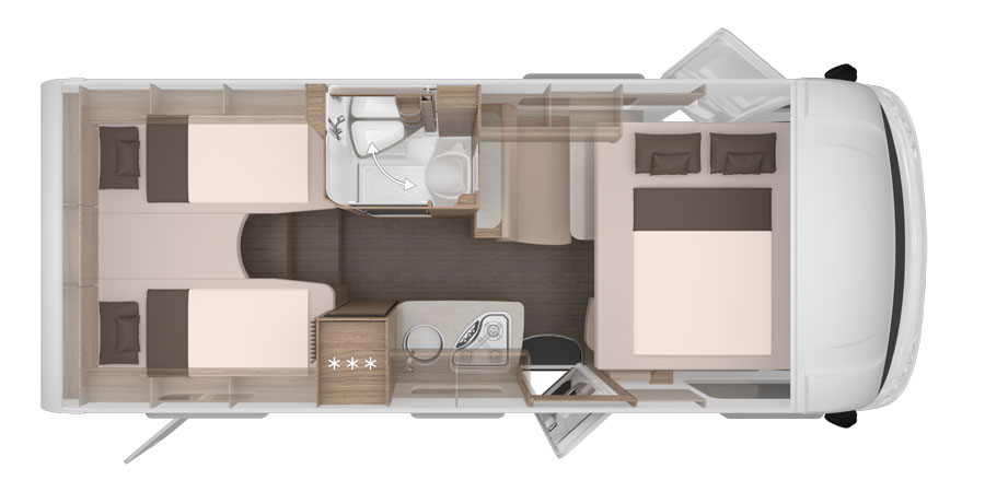 The Knaus Live I 650 MEG Night Time Layout with the second drop down bed