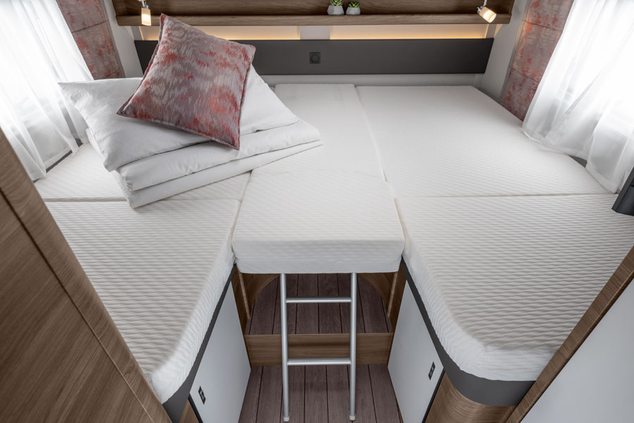 The large, rear twin beds in the Knaus Live I can also be converted into a huge, comfy double bed
