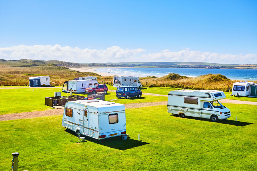 Dunnet Bay Campsite a typically interesting site provided by The Caravan and Motorhome Club
