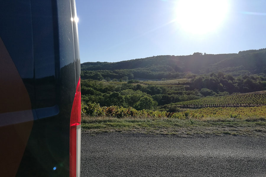 A campervan room with a view, overlooking the vineyards of the Morgon appellation in the Beaujolais wine region
