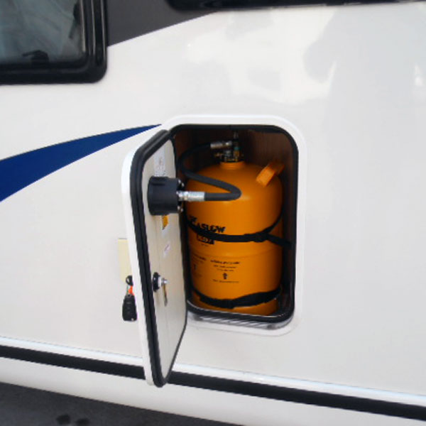Gaslow refillable gas bottles fit easily into most motorhome gas lockers