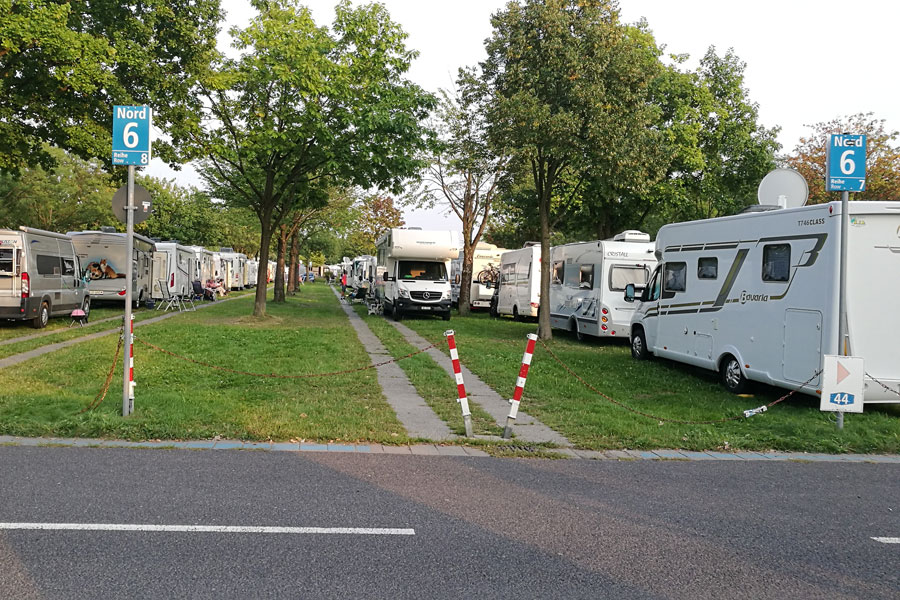 The visitor campsite at Dusseldorf Motorhome Show