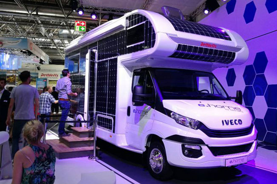 You will see the 2021 ranges at an autumn motorhome show and a few prototypes like this E-Home, coated in solar panels