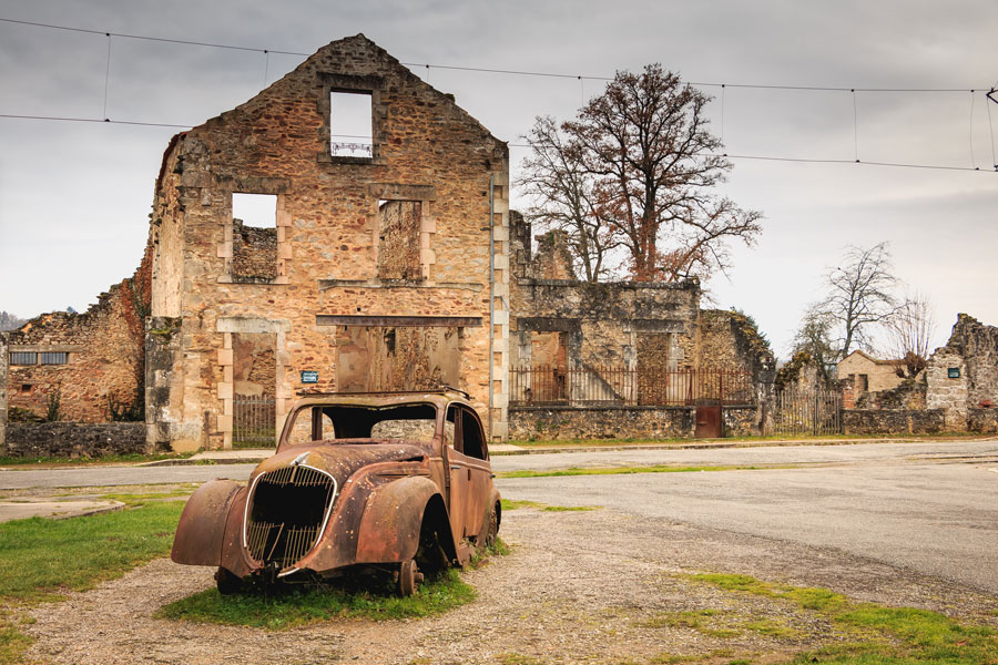 Presiden Charles de Gaulle ordered that the village of Oradour sur Glane be left exactly as it was after the massacre in 1944