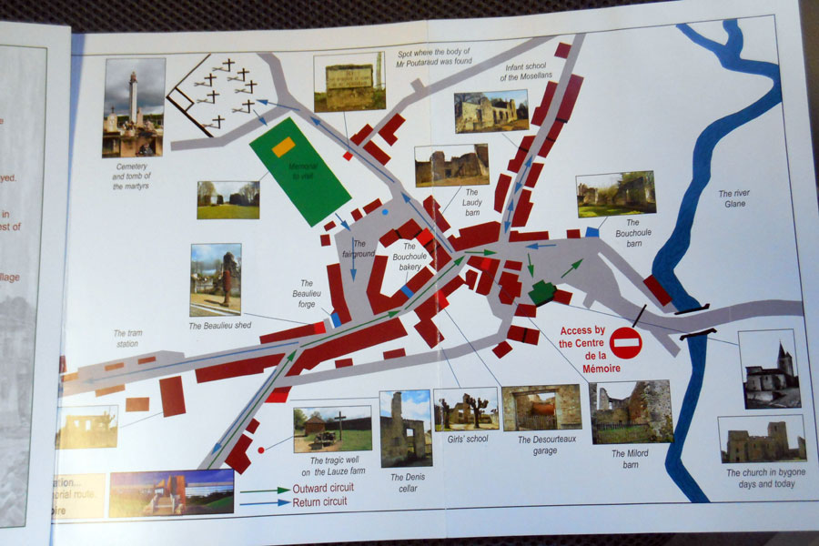 The Memorial Centre sell an inexpensive map in English which you can buy before you walk through the village