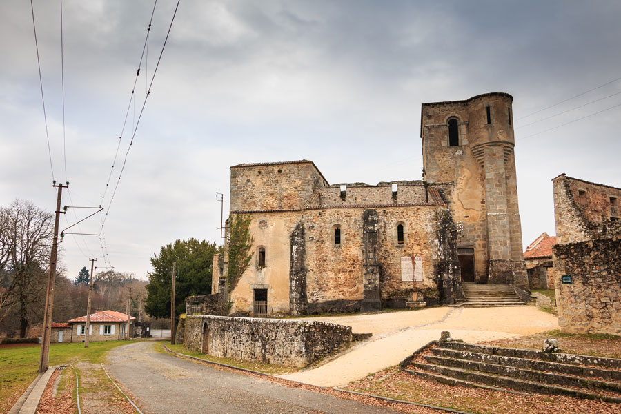 The church at Oradour sur Glane is one of the few buildings which remain remarkably intact