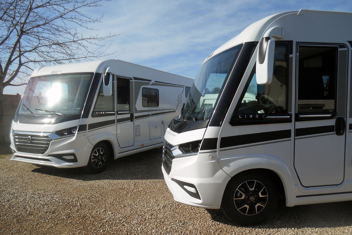 A dynamic duo of Knaus Live i motorhomes at our Veron depot