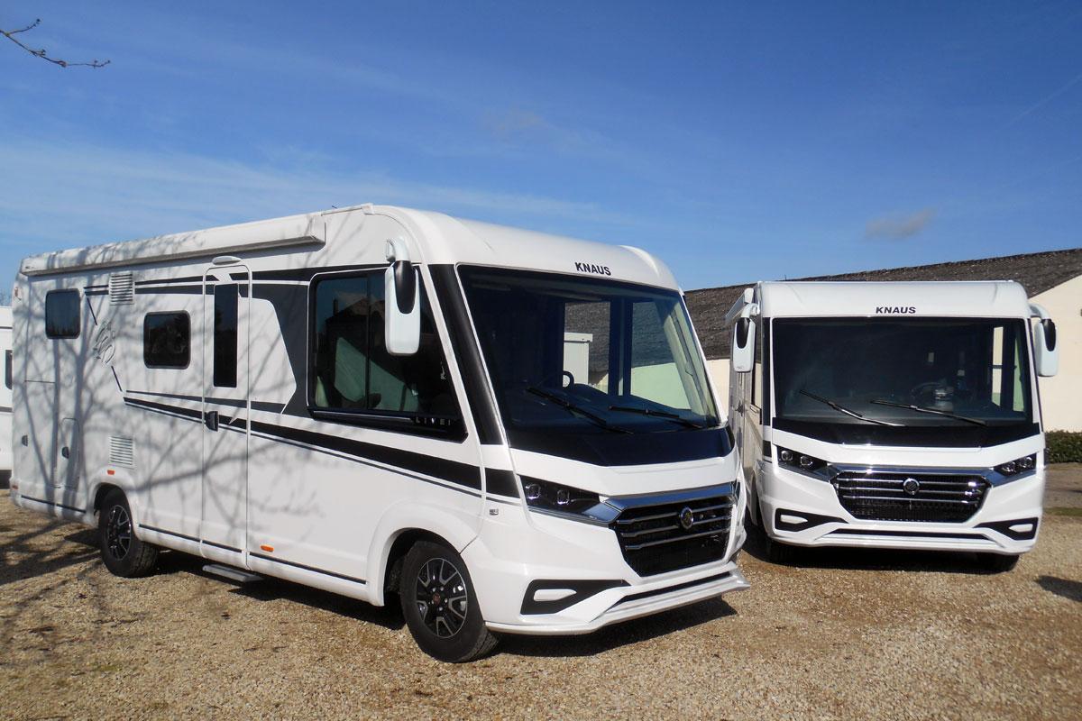Our Knaus Live i 650 MEG demonstrator and a customer Live i 700 MEG in preparation for a long European motorhome tour