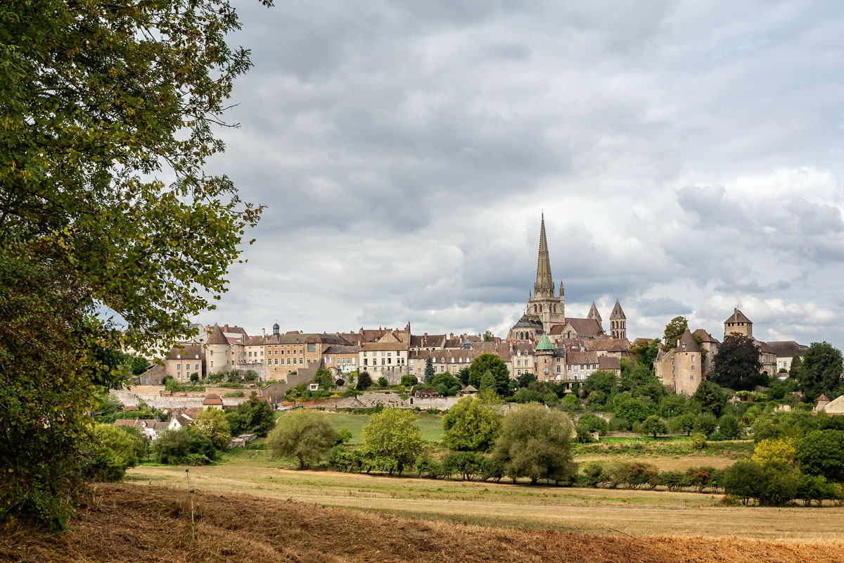 town of Autun by motorhome