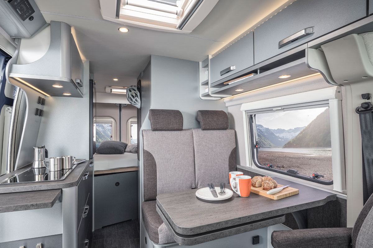 Knaus CaraTour - Motorhome interiors are light and airy even on a winter European motorhome trip